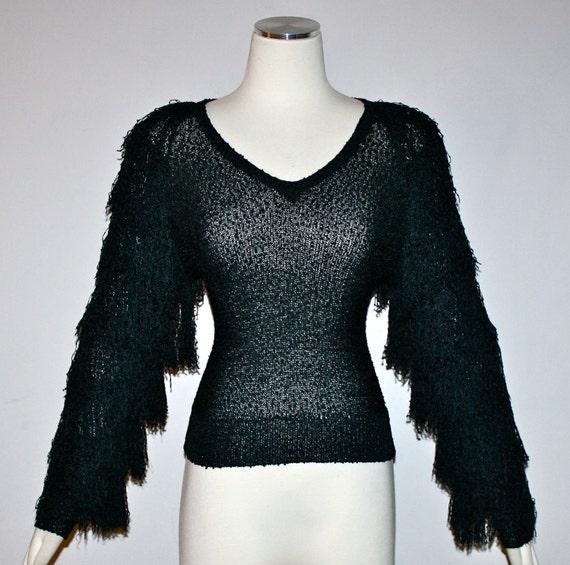 Vintage FRENCH RAGS Black Hand Loomed Avant Garde Fringe Sweater