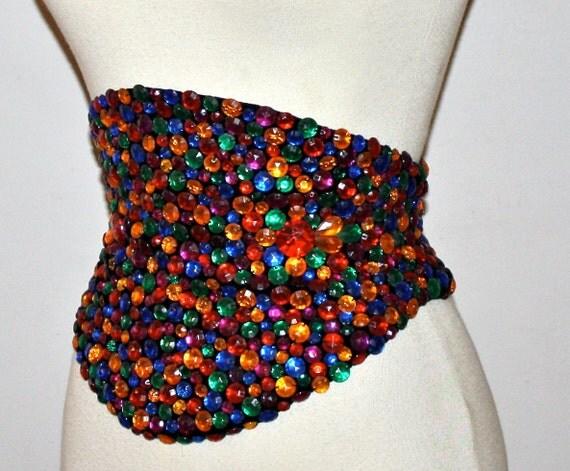Vintage OMO NORMA KAMALI Wide Colorful Jeweled Cummerbund Belt