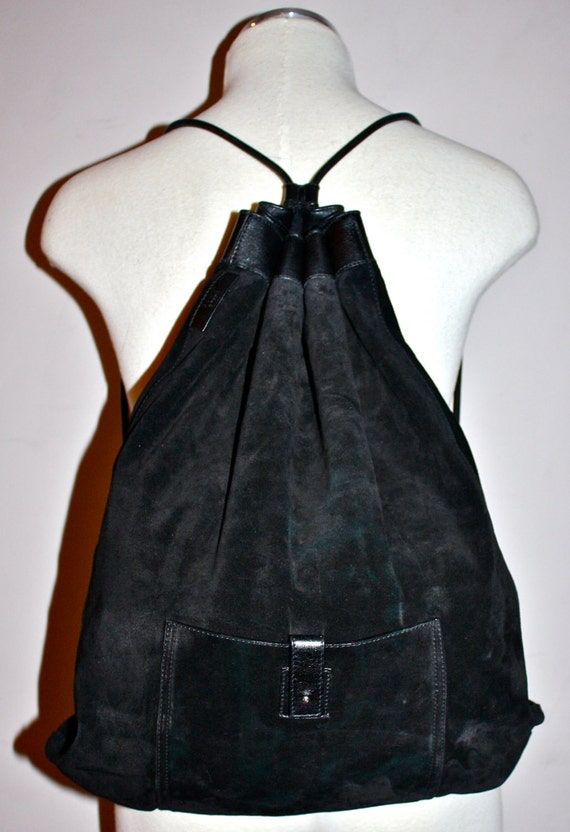 Huge VINTAGE GUCCI Authentic Slouchy Black Suede Leather Drawstring Backpack