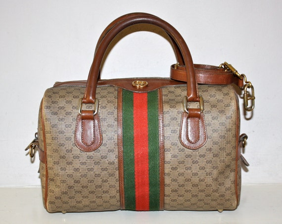 Gorgeous VINTAGE GUCCI Large Brown Monogramed Classic Web Speedy Convertible Tote