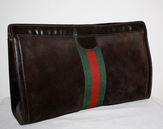 Vintage AUTHENTIC GUCCI Extra Large Dark Brown Suede Stripe Web Clutch