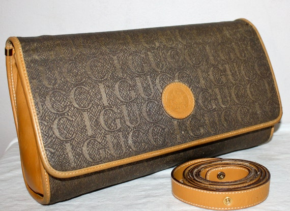 Vintage GUCCI Clutch Monogram Taupe Light Brown Leather Convertible Bag -AUTHENTIC-