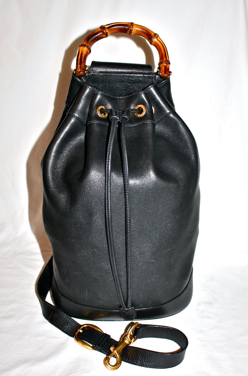 c7dbe02f7085 Authentic GUCCI BACKPACK Large Sling Vintage Black by StatedStyle