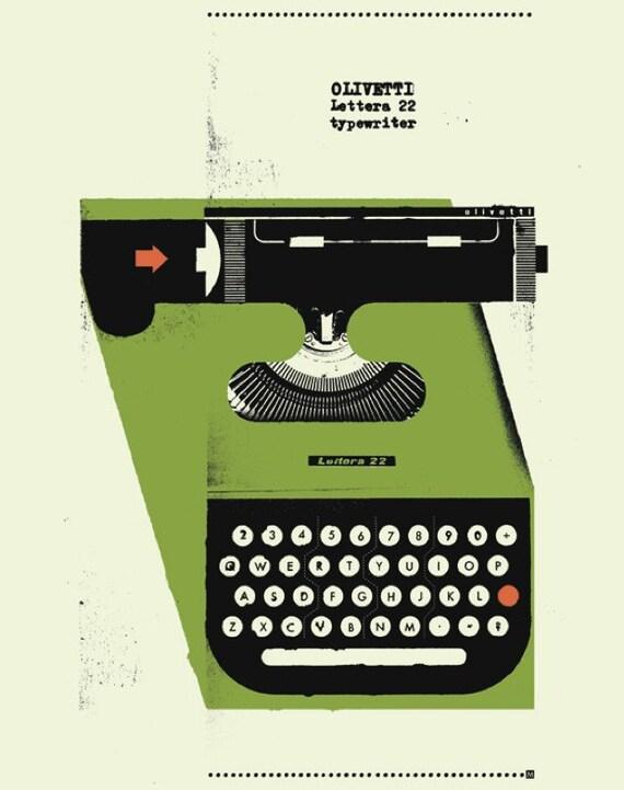 "1950's Olivetti Typewriter Poster 12"" x 16"""