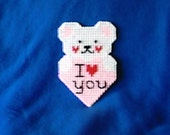 Plastic Canvas St. Valentine's Day Bear Magnet