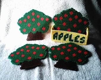 Plastic Canvas Apple Tree Coaster Set Summer