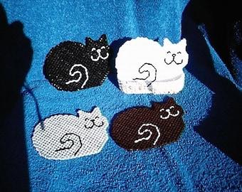 Kitty Cat Plastic Canvas Coaster Set
