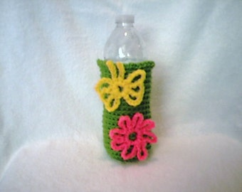 Water Bottle Cozy Crocheted Spring Green with Yellow Butterfly and Hot Pink Daisy Flower Embellishments