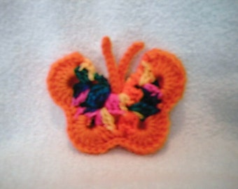 Orange Multi Colored Crocheted Butterfly refrigerator magnet