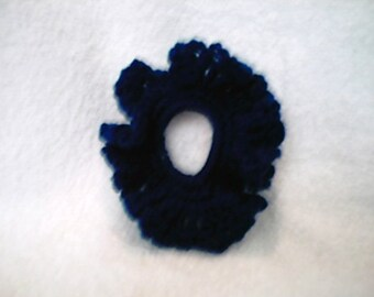 Royal Blue Ruffled Crocheted Hair Scrunchie