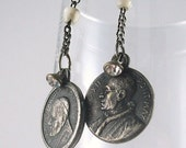 Vintage Rosary and Mother of Pearl Earrings - Vintage Assemblage