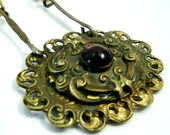 Nouveau Brass Buckle and Bar Chain Necklace- Vintage Assemblage OOAK