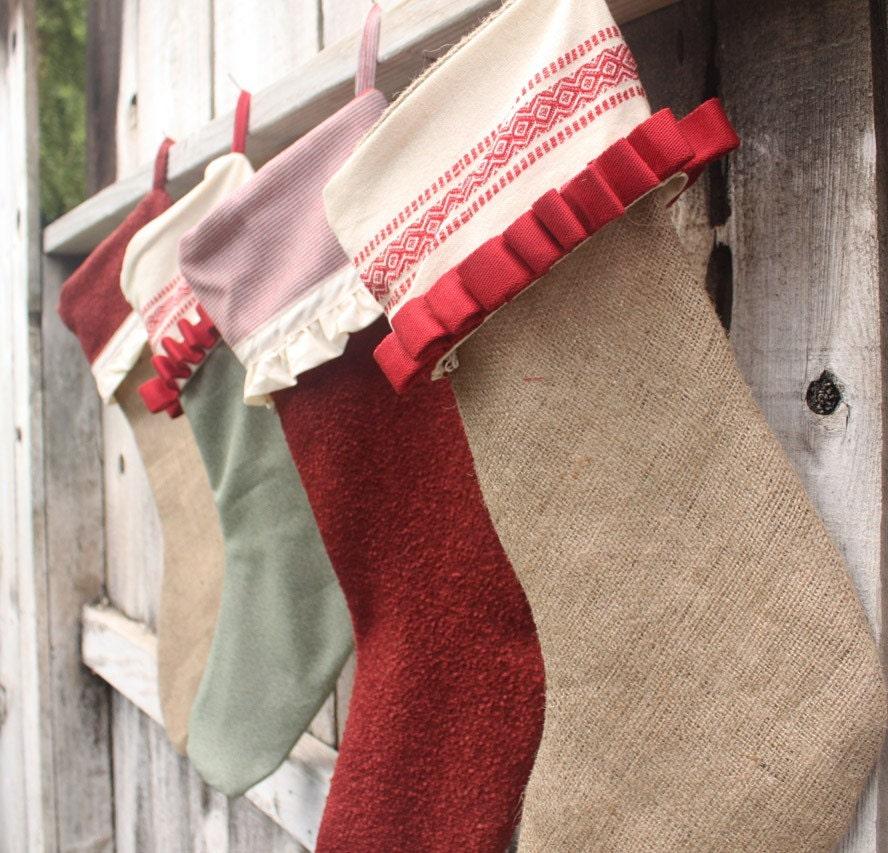 Adorable handmade green and red christmas by thefurbishtheory for Custom made christmas stockings