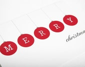 Merry Christmas Red Ornaments Holiday Card