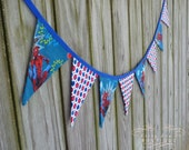 LAST ONE Spiderman 8 Piece Fabric Pennant Banner Bunting with Red and Blue Polka Dots Great for Photo Props and Parties