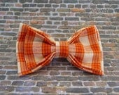 Little Beau Bow Tie on Elastic in Orange and Cream Plaid Print All Sizes Available