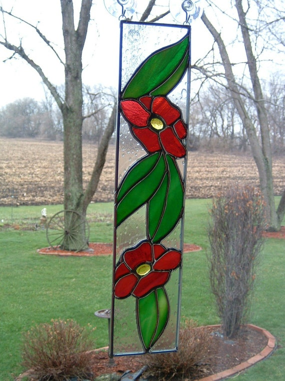 Simple Scarlet Flower Stained Glass Panel Suncatcher