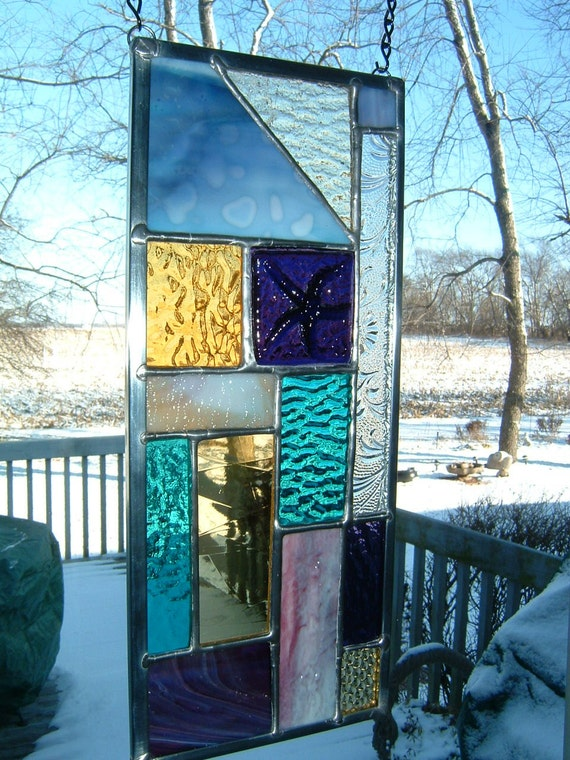 Stained Glass Purple Prairie Abstract Panel