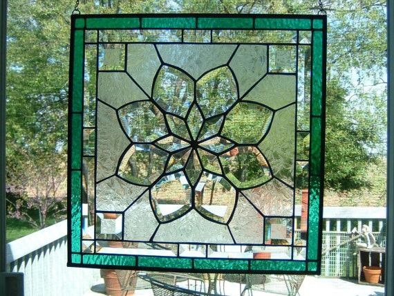 Exquisite Beveled Stained Glass Victorian Panel