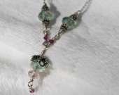 Pink and Green Crystals on Silver