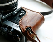 Handmade Brown leather camera case and strap combo for FM,FM2,FE,FE2,FM3a - LoraynLeather