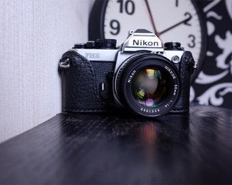 Handmade Black leather camera half case for FM,FM2,FE,FE2 - made to order