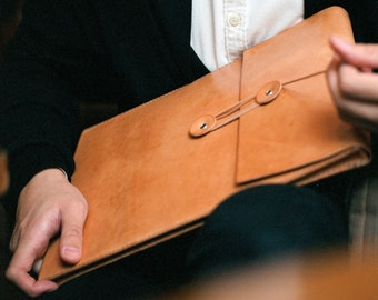 "Handmade 13"" MacBook Air/ 13""MacBook Pro Leather Envelope Case with Free Monogramming - made to order"