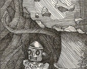 Original Pen and Ink ACEO Surreal Art Card - Shelter