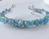Turquoise Wire Wrapped Cuff Bracelet Blue Aluminum Wire Silver Metal Wire Glass Beads Fashion Gift For Her