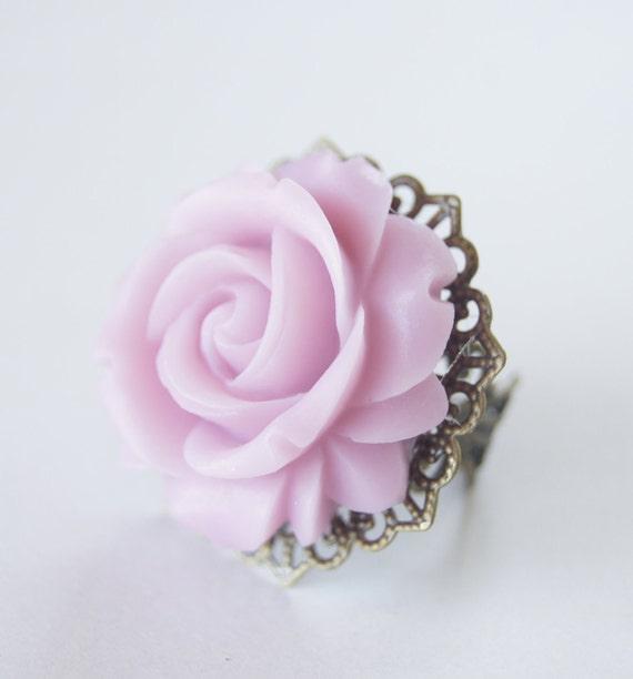 Lavender Purple Rose Resin Flower Vintage Bronze Ring Vintage Inspired, Bridal Jewelry, Bridesmaids