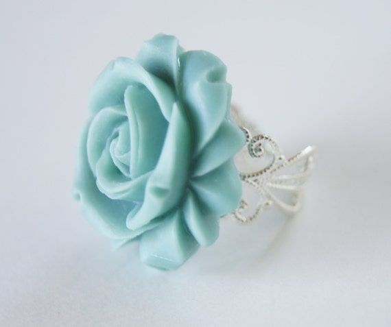 Blue Resin Rose Flower Silver Metal Vintage Inspired Adjustable Ring, Bridesmaids, Spring Fashion, Wedding, Bridal Jewelry