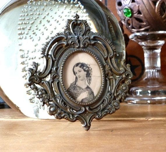 Vintage Tiny Metal Frame Oval Portrait of Woman, Italy