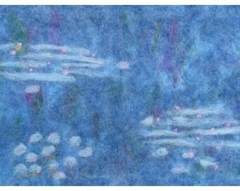 Needle Felt Wall Hanging of Monet's Water Lilies