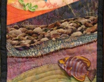 Customized Seascape Applique Quilted Fiber Art Wall Hanging