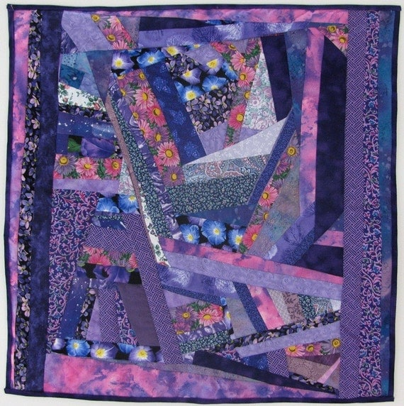Customized Crazy Quilt Small Purple Quilt Art Wall Hanging