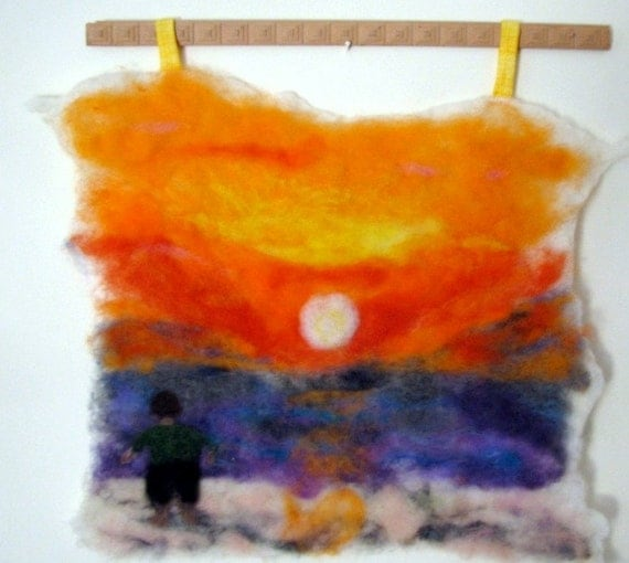 Mediterranean Sunset Needle Felt Wall Hanging