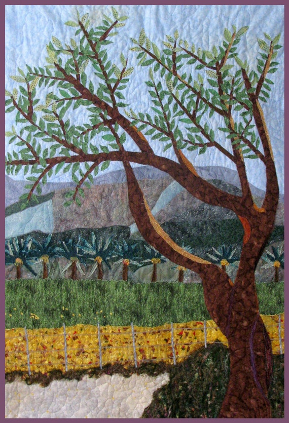 Decorative Landscape Wall Hanging Quilt Art, Holy Land Kibbutz