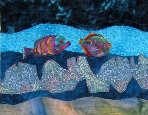 Mediterranean Seascape Applique Quilt  Art Wall Hanging