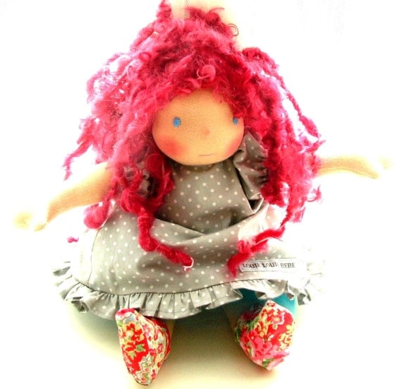 Miss Fay - 14inch  Raspberry haired Waldorf doll