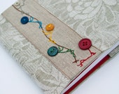 RESERVED for Roberta - Embroidered fabric Book Cover with blank journal notebook. Rope climbing enthusiasts
