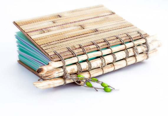Reserved for Roberta - Bamboo Sketchbook, beaver chewed tree branches, beaded eco friendly book