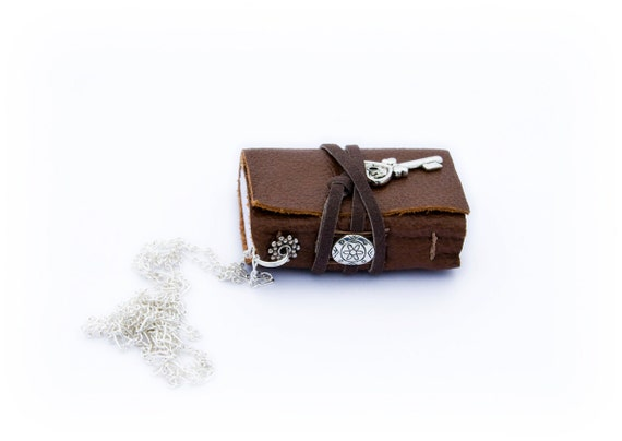 Mini Book Necklace, chocolate brown leather, tiny key charm