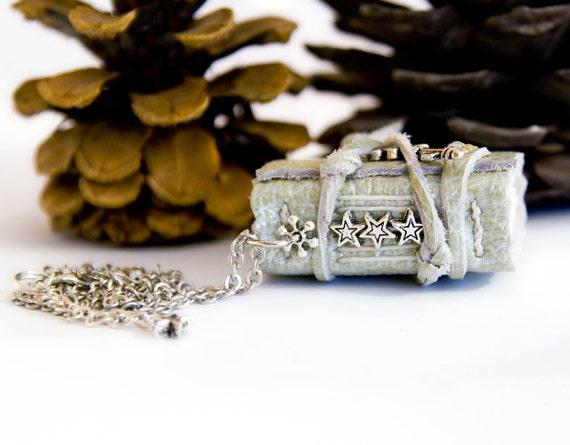 Book necklace, 3 silver stars, light green metallic leather journal, mini book pendant
