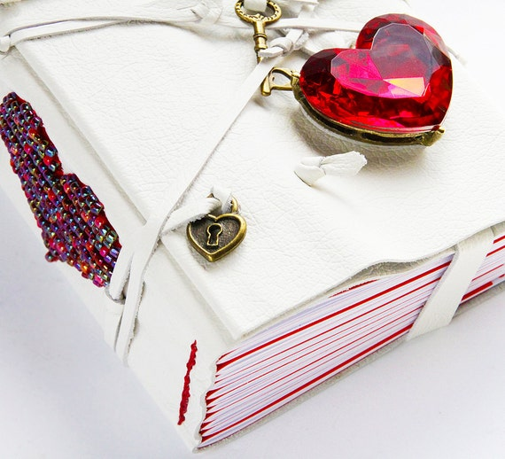 RED HEART journal, white leather love diary, beaded blank book sketchbook