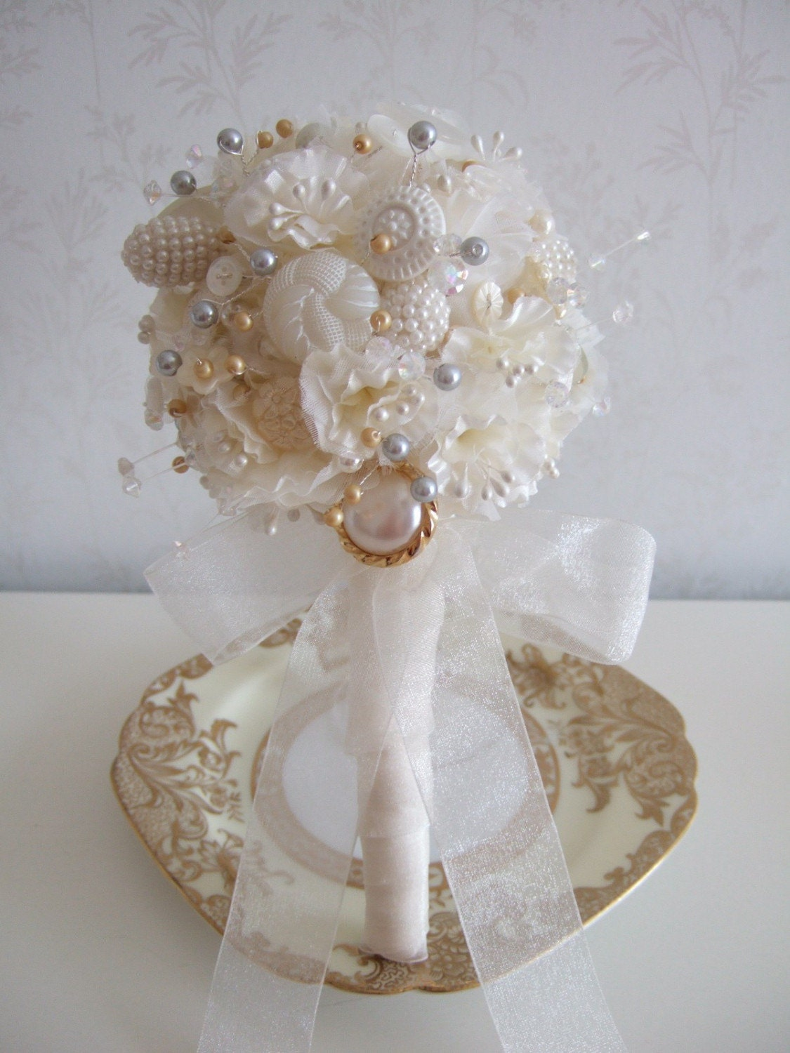 White Vintage Button Wedding Bouquet With Gold And Silver