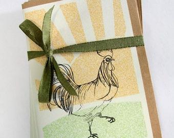 Mokoko/ Rooster at Sunrise - Screen printed card