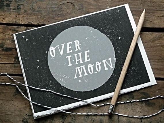 Over The Moon Card  - Night Sky Edition.