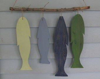 Reclaimed wood  Fish Wall Hanging. Custom Made. Rustic Lake Decor. Made to Order