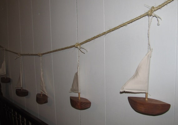 Upcycled Wooden Sailboat Garland Nautical Home Decor Made to order
