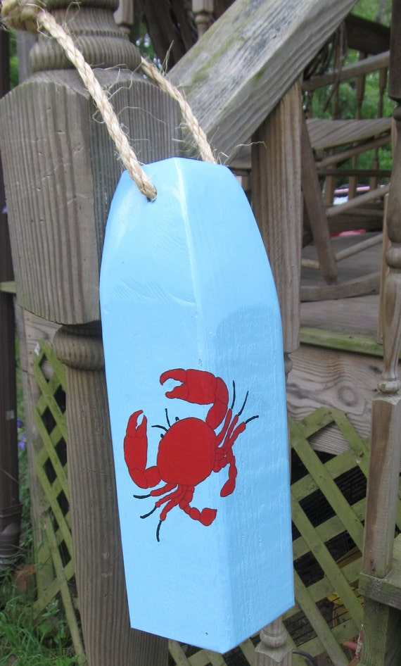 OOAK Handmade Wooden Buoy Made from Reclaimed wood Hand Painted Crab